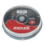 Maxell-DVD-R-plaat-16x-47GB-Cakebox-10-tk