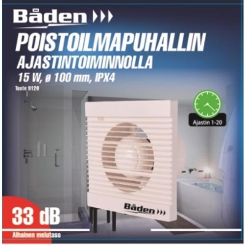 f3f5bcadb7f Vannitoa ventilaator taimeriga ø100 mm 15 W IPX4 | Motonet OÜ